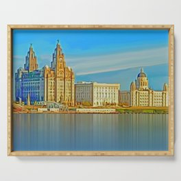 Water front Liverpool (Digital Art) Serving Tray