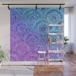 Aqua Blue Purple and Pink Sparkling Glitter Circles Wall Mural