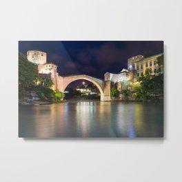 Stari Most ancient bridge in Mostar Bosnia and Herzegovina - Night Photography Metal Print
