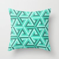 lv Throw Pillows featuring Geometrix LV by Harvey Warwick