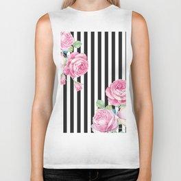 Black white blush pink watercolor floral stripes Biker Tank