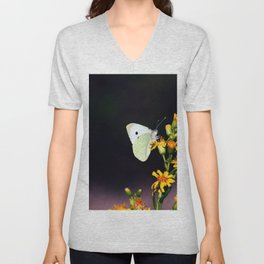 White Butterfly on Yellow Flowers Unisex V-Neck