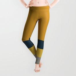 4 Stripe Minimalist Color Block Solid in Light Mustard, Navy Blue, Gray, White, and Dark Mustard Leggings