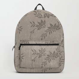 Abstract vintage chic brown cream floral illustration Backpack