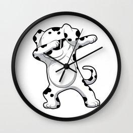 Dabbing Dalmatian T Shirt Funny Dab Dog Wall Clock