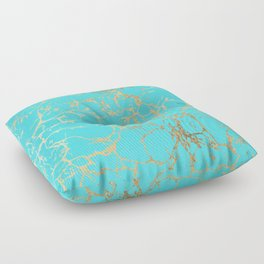 Modern aqua elegant faux gold foil marble pattern Floor Pillow