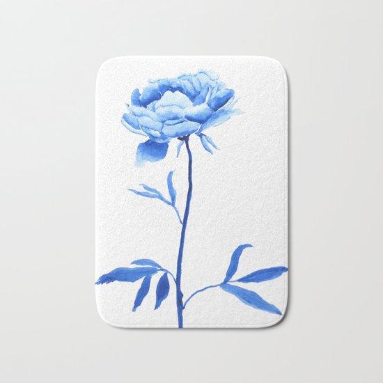 one blue peony painting Bath Mat