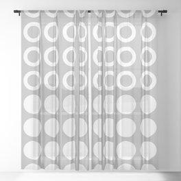 Mid Century Modern Circles And Dots Grey Sheer Curtain