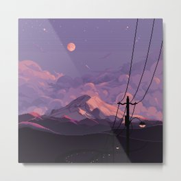 Mt Rainier with Powerlines Metal Print