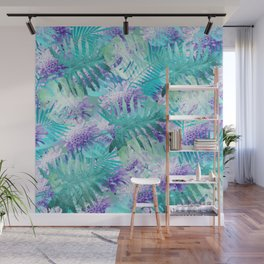Turquoise floral print Wall Mural