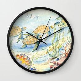 Sea Turtles, Coral and Kelp Wall Clock