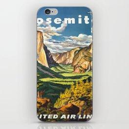 Yosemite National Park Vintage Travel Poster Landscape Illustration iPhone Skin