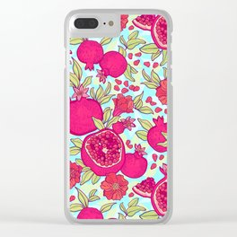 Pattern with pomegranates. Decorative patterns of the garnet fruit on white background . Clear iPhone Case
