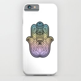 Hamsa Hand of Protection Pastel Rainbow Gradient iPhone Case