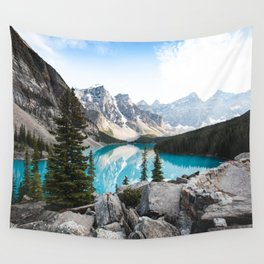 BLUE BODY OF WATER NEAR GREY MOUNTAIN DURING DAYTIME Wall Tapestry