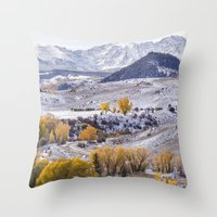 gore Throw Pillows featuring Gore Range by Two Happy Campers