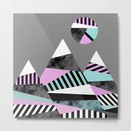 Crazy Mountains - Abstract, Stripes, block colour and marble effect Metal Print