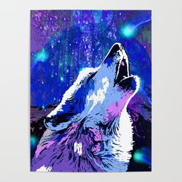 WOLF MOON AND SHOOTING STARS Poster