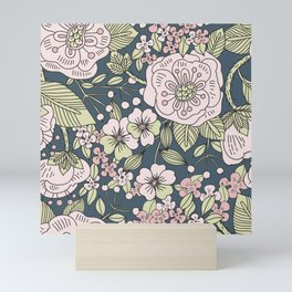 Retro Pink Rose Ditsy Floral Pattern on Navy Blue Background Mini Art Print