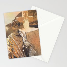 Painting of traditional dressed girl in front of cross at Lake Atitlan- Guatemala. Stationery Cards