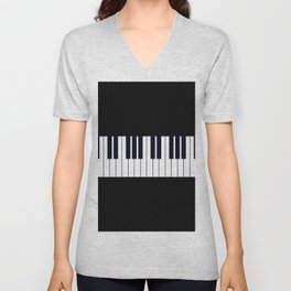 Piano Keys - Black and white simple piano keys pattern minimalistic music themed artwork Unisex V-Neck