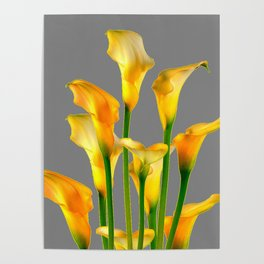 DECORATIVE GOLDEN CALLA LILY FLOWERS ON GREY ART Poster