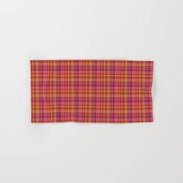 Picnic style checked multicoloured pattern in orange and Mexican pink Hand & Bath Towel