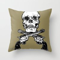 kindle Throw Pillows featuring 113 by ALLSKULL.NET
