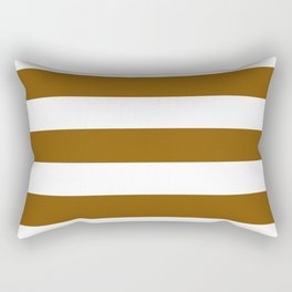 Bronze - solid color - white stripes pattern Rectangular Pillow