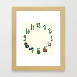 Clock Cactus Framed Art Print