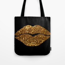 Gold Sparkle Kissing Lips Tote Bag