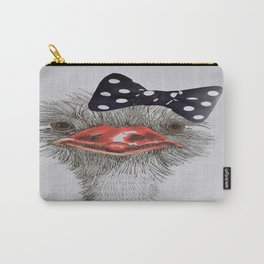 Ostrich with bow in hair Carry-All Pouch