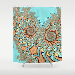 Owl Fractal Turquoise and Orange Shower Curtain