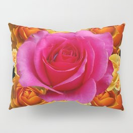 GOLD-YELLOW & PINK ROSES ON BLACK Pillow Sham