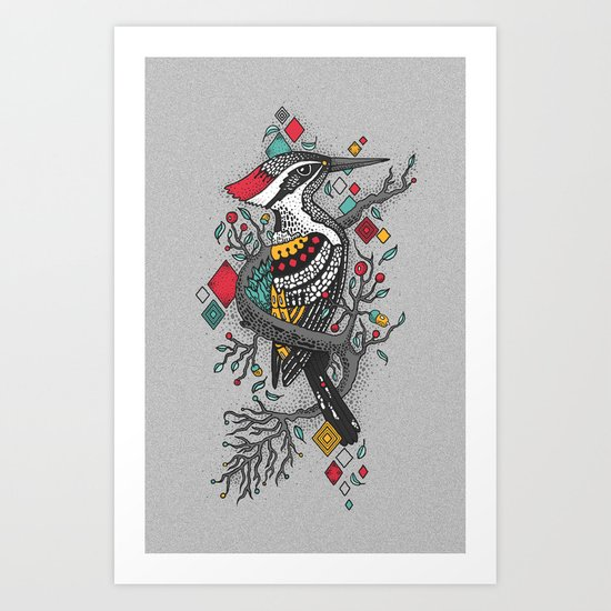 """THE WOODPECKER FOREST "" Art Print"
