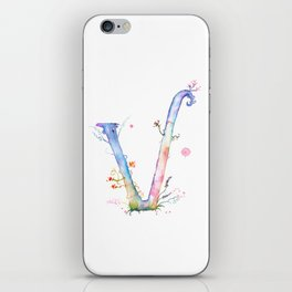 Letter V watercolor - Watercolor Monogram - Watercolor typography - Floral lettering iPhone Skin