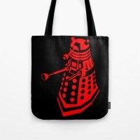 dalek Tote Bags featuring Dalek by InvaderDig