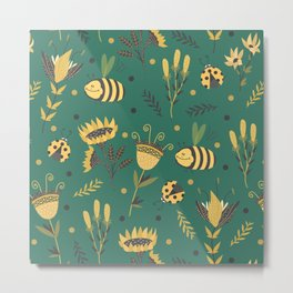 Bees and ladybugs Metal Print