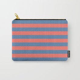 Living Coral and Pacific Blue Horizontal Lines Carry-All Pouch