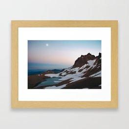 Alpine Lake Moonrise Framed Art Print