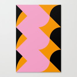 Vertical black and orange waves, in a pink sea, near three black orange mountains. Canvas Print