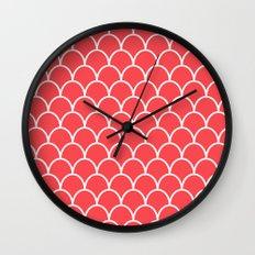 Salmon Pink Scallops Wall Clock