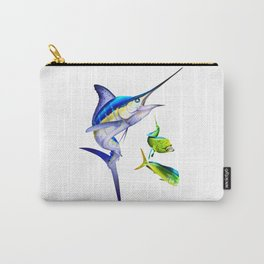 White Marlin Chasing Dolphin Fish Carry-All Pouch