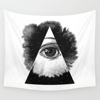 illuminati Wall Tapestries featuring The Eye In The Sky by Jorge Lopez