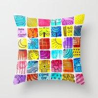 school Throw Pillows featuring School by Verismaya