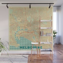 Melbourne Map Retro Wall Mural