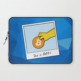 See you later Bitcoin on blue facets Laptop Sleeve
