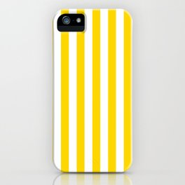 Narrow Vertical Stripes - White and Gold Yellow iPhone Case
