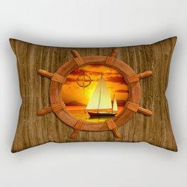 Sailboat And Compass Rose Rectangular Pillow