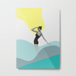 Swimmer Collage Metal Print